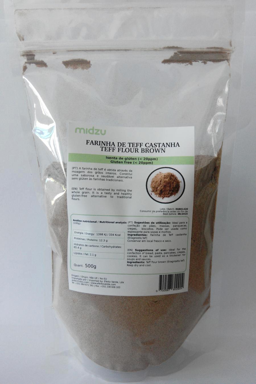 Farina di Teff scura Midzu - 500 grammi - Senza glutine
