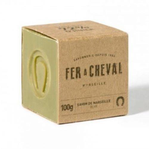 Cubetto di Sapone di Marsiglia Olive 72% della Fer à Cheval 100g (mini)